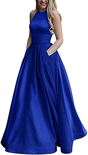 Mujeres Halterneck Backless A Line Satin Long Prom Dresses 2021 con Bolsillos Teen Formal Evening Ball Gown Vestido de cóctel