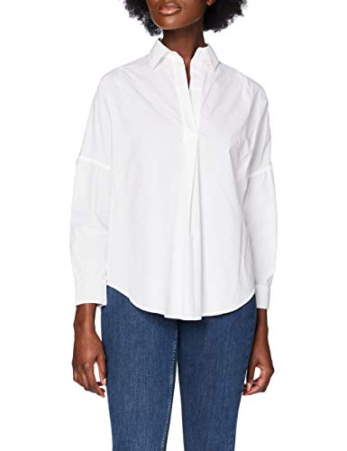 French Connection Rhodes Poplin Popover Shirt Camicia, Bianco (Lino Bianco), L Donna
