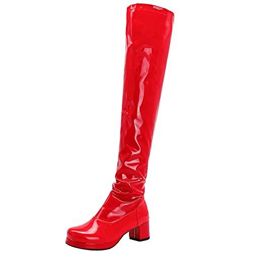 Lizzhen Mujer Tacón Ancho Sobre La Rodilla Charol Moda Plataforma Botas De Montar Cremallera Fiesta Prom Warm Thigh Invierno Vestido Boots Rojo Talla 36.5 EU/37Cn