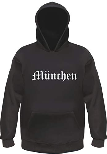 München Kapuzensweatshirt - Altdeutsch - Bedruckt - Hoodie Kapuzenpullover XL Schwarz