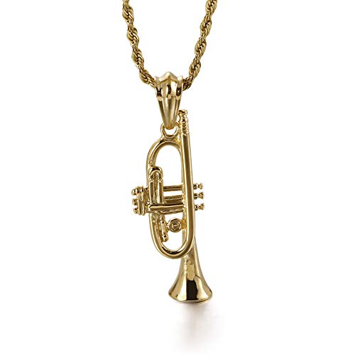 Trompeta De Micrófono De Acero Inoxidable Para Hombres Saxofón De Corneta Instrumentos Musicales Colgante Collar Colgante De Punk Dorado