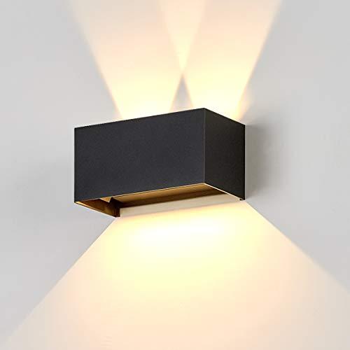 Dr.lazy 20W Apliques Pared LED 3000K Blanco Cálido 1600LM, Lámpara de Pared Interior, Apliques Pared Exterior Impermeable IP65, Aplique de Pared Moderna de Angulo de Haz Ajustable(Negro/Blanco Cálido)