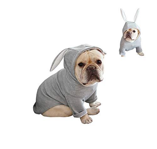 Khemn 丨Bulldog Custom-Clothing丨Bulldog Rabbit Costume, Dog Fashion Rabbit-Ear Hoodie for French Bulldog/English Bulldog/American Pit Bull Terrier/Pug (Pink, Grey) (XXL, Grey)