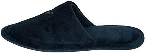 Emporio Armani Ciabatte pantofole da casa uomo in velluto homewear articolo XJPM01 XM092 underwear slippers velvet, 00285 Blue navy, EU 39/40 - UK 6,5 - USA 7 - CN 255/89