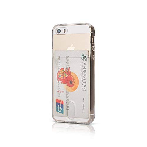 Wormcase ® Kunststoffhülle mit Kartenfach kompatibel mit iPhone 5 – 5S - SE - Farbe Transparent - TPU Schale Back-Cover Schutz-Tasche Kratzfest Stoßfest Bumper Crystal-Clear dünn leicht schmal