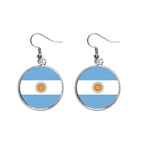 Pendientes colgantes de plata con la bandera nacional de Argentina, con diseño de bandera de Sudamérica