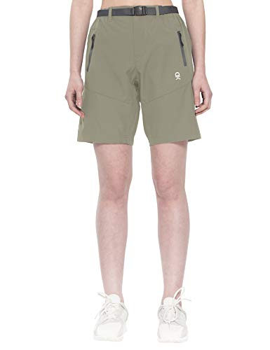 Little Donkey Andy Pantalones cortos elásticos para mujer, de secado rápido, para senderismo, camping, viajes, color plateado, talla M