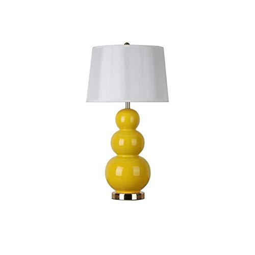 JYDQM Lámpara de Mesa de cerámica lámpara de Mesa Decorativa Pantalla de Tela Interruptor de botón E27 Sala de Estar Dormitorio mesita de Noche