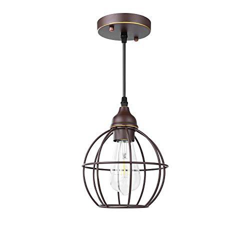 Vintage Käfig Pendelleuchte - Frideko Modern Industrielle LED Hängeleuchte E27 Fassung Ø17cm Höhenverstellbare Deckenlampe für Wohnzimmer Esszimmer Restaurant - Kaffeebraun