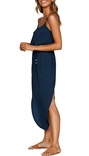ZJCTUO Damen Sommerkleid Spaghetti Strap Boho Lange Casual Elegant Kleider Partykleid Strandkleid