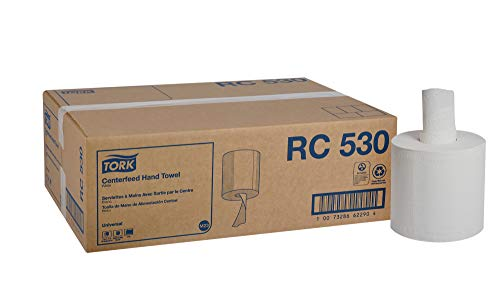 """Tork Universal RC530 Centerfeed Paper Hand Towel Roll, 2-Ply, 7.6"""" Width x 11.75"""" Length, White (Case of 6 Rolls, 530 per Roll, 3,180 Towels)"""
