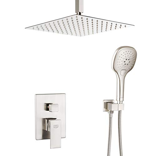 Ceiling Mount Shower System Brushed Nickel Bathroom Luxury Rain Mixer Shower Faucet Set 12 Inch Shower Head and Handle Set with Handheld Shower Single Handle Shower Trim Kit with Rough-in Valve