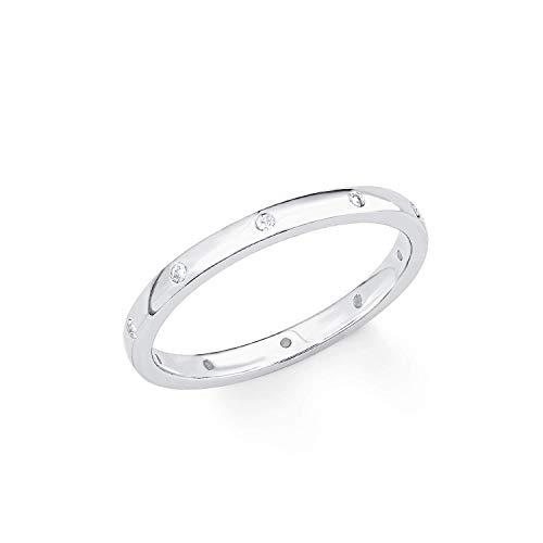 s.Oliver Damen-Ring So Pure 3 mm schmal schlicht 925 Sterling Silber rhodiniert Zirkonia weiß, 50 (15.9)