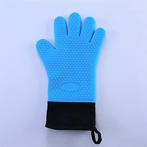 Guantes de horno de doble capa Guantes para hornear resistentes al calor con guantes de cocina de silicona y algodón Mits flexibles para horno para microondas (Color : 1Pcs Blue)