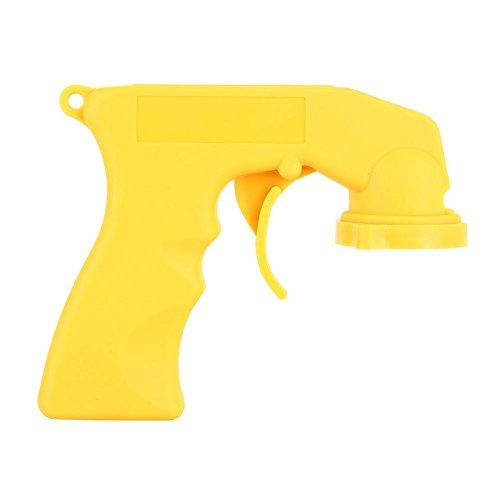 Manija de la pistola de pulverización del automóvil, la pintura en aerosol de aerosol de plástico puede la pistola de la manija del collar de bloqueo del gatillo del mango (amarillo)