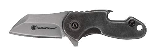 Smith & Wesson Drive 3.25in S.S. Folding Keychain Knife with 1.25in Modified Tanto Blade and Stonewashed Handle for Outdoor, Tactical, Survival and EDC