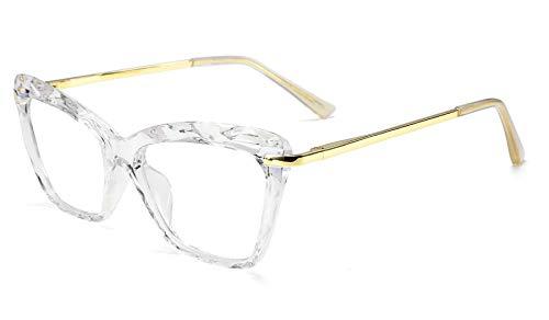 FEISEDY Crystal Cat Eye Glasses Frame Blue Light Blocking Computer Eyewear B2500