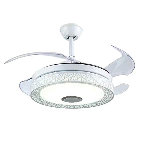 Homeland Ventilador de Techo de 42 '', luz con Altavoz Bluetooth, Control Remoto, Silencio, Ventilador Invisible