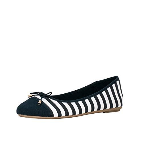 Fitters Footwear That Fits Damen Ballerina Grace Textil Ballerina mit Schleife gestreift im maritimen Look Übergröße (46 EU, blau weiß)