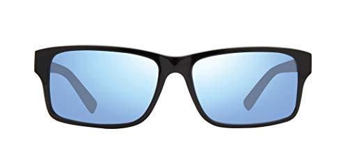 Revo Gafas de sol deportivas redondas para mujer, marco negro/lente azul agua, talla única