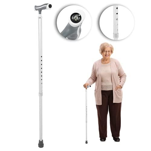 Bastón para Caminar para Ancianos Aleación de Aluminio Antideslizante Altura Ajustable Bastón para Caminar Bastón para Caminar Ayuda para la Movilidad portátil Gran Equilibrio Ayuda