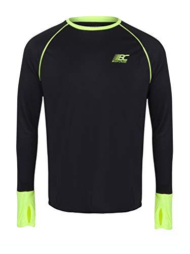 BODYCROSS T-Shirt Manches Longues A Passe Pouces Col Rond Homme Olin Noir Et Jaune Fluo Running, Training en Polyester - Respirant, Léger, Protection Anti-Bactéries et Anti-Odeurs
