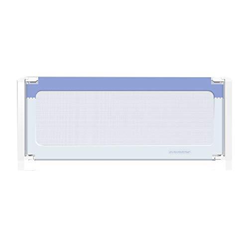 Cuna Barandilla de Seguridad Barrera de Cama , 1 paquete Extra alto Elevación vertical Rieles de cama para niños pequeños, Plegable Lavable para cama doble cama matrimonial,Azul,200*76cm
