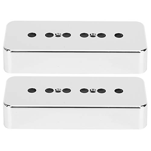 2Pcs Guitar Pickup Cover Soapbar Pickup Covers Silver Chrome-Plating ABS Musical Instrument Accessories Compatible with P90 Electric Guitar