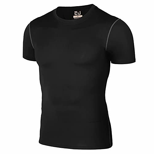 Guooolex コンプレッションウェア メンズ 半袖 冷感 インナー スポーツシャツ アンダーウェア コンプレッショントップス 吸汗速乾 321-黑-L