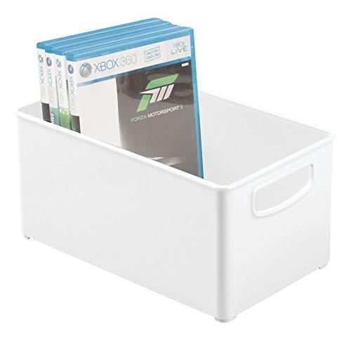 MDESIGN DVD Aufbewahrungsbox – praktisches Ordnungssystem mit Griffen für DVDs, CDs und Videospiele – stapelbare Plastikkiste mit Griffen – weiß