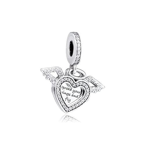 ZHANGCHEN Joyería para Mujer, Pulseras de Cuentas, alas de ángel, dijes de corazón, Colgantes, joyería de Plata 925, Pulseras con dijes