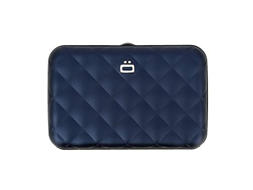 Ögon Smart Wallets - Quilted Button Cards Holder - RFID Protection : Protects Your Cards from Stealing - Up to 10 Cards + receits + Notes - Anodised Aluminium (Marineblau)