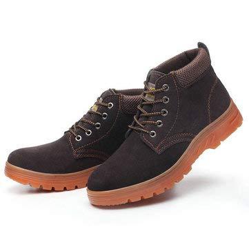 ExcLent Zapatos De Seguridad Para Hombres Gorra Con Puntera De Acero Zapatillas De Trabajo Protectoras Botas De Senderismo - marrón - 43 yardas de la UE
