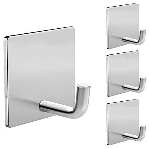 Adhesive Hooks Heavy Duty Stick on Wall Door Hooks , Stainless Steel Wall Hook Towel Hooks and Coat Hooks Self Adhesive Holders for Hanging Kitchen Bathroom Home Adhesive Hooks - 4 Pack