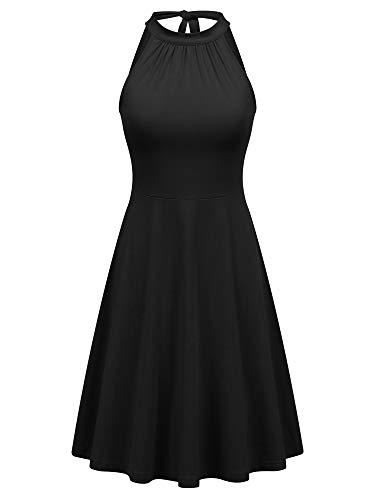 FENSACE Plus Size Black Halter Dress Plus Size Black Coctail Country Summer Dresses Women