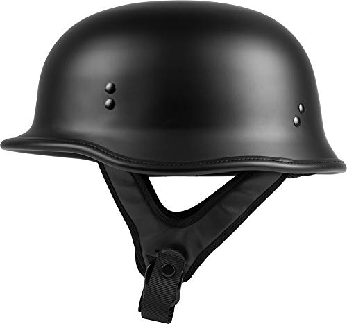 HIGHWAY 21 9-Millimeter German Beanie Helmet, Half Shell Motorcycle Gear, Black Safety Head Cover, Dual D-Ring Chinstrap