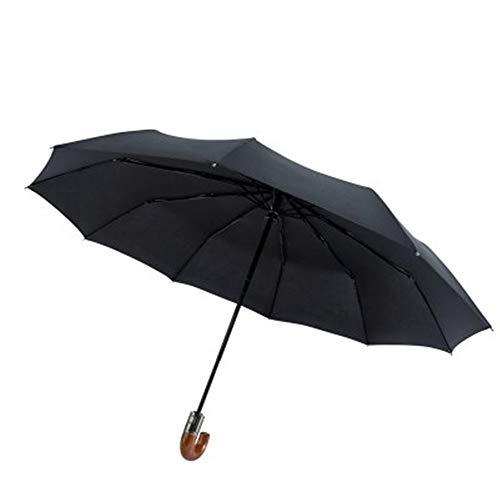 Boombee Tragbarer Taschenschirm Nachahmung hölzerner automatischer faltender Regenschirm-Griff DREI Winddichter Regenschirm