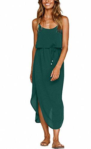 Nerlerolian Damenkleid mit verstellbaren Trägern, geteiltes Sommerkleid, mittellanges, lässiges Sommerkleid mit hohem Beinschlitz. -  Grün -  Klein