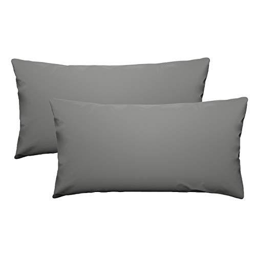 eletecpro - Funda de almohada de 100% microfibra con cierre de hotel, funda de almohada súper suave, color resistente, hipoalergénica, agradable para la piel, 40 x 80 cm, 2 unidades color gris