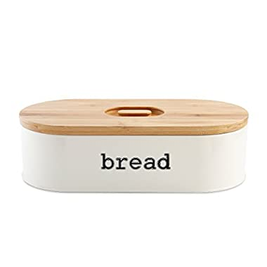 Homelet Bread Box - Vintage Retro Stainless Steel Powder Coated Bread Bin Storage with Bamboo Cutting Board Lid for Kitchen, Cream