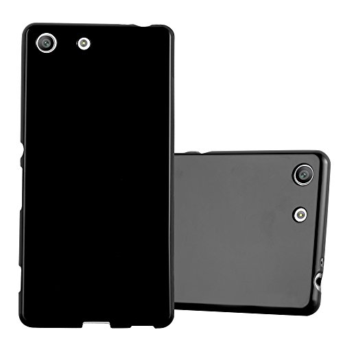 Cadorabo Hülle für Sony Xperia M5 in Jelly SCHWARZ – Handyhülle aus flexiblem TPU Silikon – Silikonhülle Schutzhülle Ultra Slim Soft Back Cover Hülle Bumper