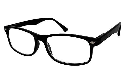 TBOC Gafas de Lectura Presbicia Vista Cansada - Graduadas +2.00 Dioptrías Montura de Pasta Negra Diseño Moda Hombre Mujer Unisex Lentes de Aumento para Leer Ver de Cerca Patillas Bisagras Resorte