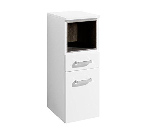 lifestyle4living Badezimmerschrank in Weiß, Hochglanz, schmal | Halbhoher Unterschrank mit 1 Tür, 1 Schubkasten, 1 Fach und 1 Einlegeboden