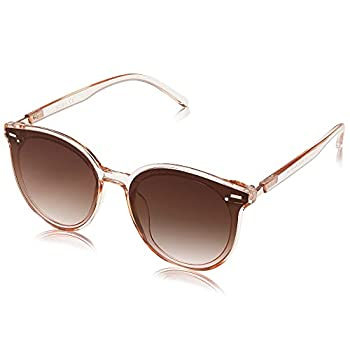 SOJOS Classic Round Sunglasses for Women Men Retro Vintage Large Plastic Frame BLOSSOM SJ2067 with Crystal Brown Frame/Brown Lens