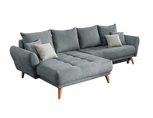 lifestyle4living Ecksofa mit Bettkasten   Schlaffunktion   Eckcouch Polsterecke L Couch Sofa L Form   Wohnlandschaft inkl. Rückenkissen und Zierkissen   Stoff Grau