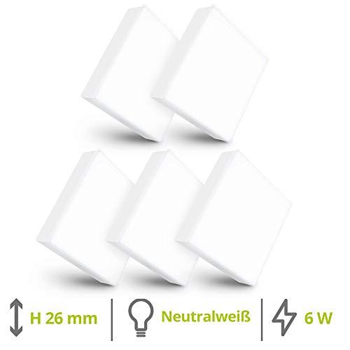 linovum paniled 5 Stück Aufbau LED Strahler Set 6 Watt 230V neutralweißes Licht - 2,6 cm dünn - eckige Aufputzleuchte Decke
