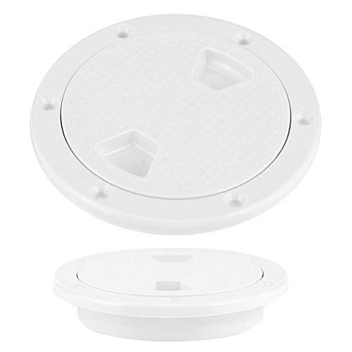 Ladieshow Boat Accessory 4in ABS Deck Plate Round White Anti-UV Corrosion Resistant Screw Out Boat Inspection Hatch Cover