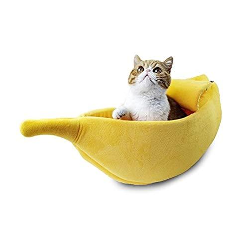 Ybqy Banana Kat Bed House Gezellige Leuke Banaan Puppy Kussen Kennel Warm Draagbare Huisdier Mand benodigdheden Mat Bedden voor Katten & Kittens