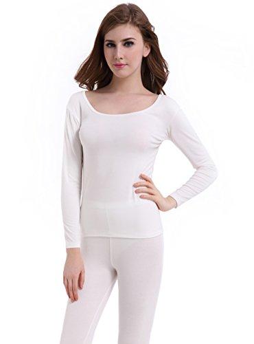 Women Stretch Thermal Underwear Base Layer Set Crew Neck Long Johns Plus Size