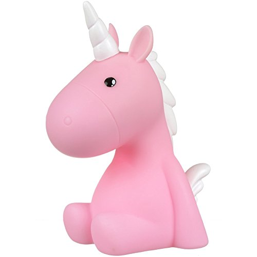 XX Small 36-2E-011P Lampe veilleuse LED Enfant Licorne Plastique Rose et blanc Mode normal ou minuterie H17,5 x 8,5 x 12 cm
